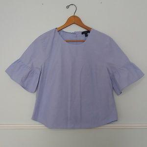 J. Crew blue button back ruffle sleeve blouse 12P